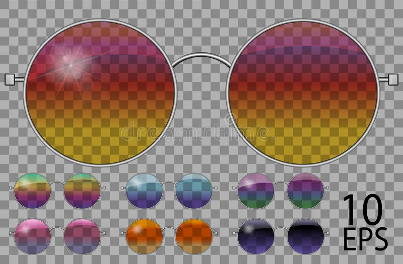 Set glasses.teashades round shape.transparent different color .rainbow  chameleon  pink blue  purple yellow  red  green  orange  b. Lack.sunglasses.3d graphics royalty free illustration