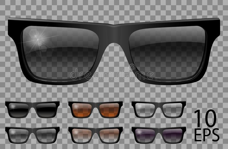 Set glasses.trapezoid shape.transparent different color black  brown purple.sunglasses.3d graphics.unisex  women men. Set glasses.trapezoid .transparent vector illustration