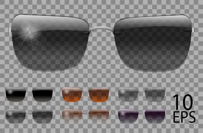 Set glasses.trapezoid shape.transparent different color black  brown purple.sunglasses.3d graphics.unisex  women men. Set glasses.trapezoid shape.transparent stock illustration