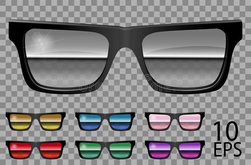 Set glasses.trapezoid shape.transparent different color .purple red blue  specular  pink  mirror golden  green.sunglasses.3d. Graphics.unisex  women men stock illustration
