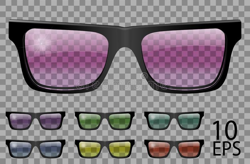 Set glasses.trapezoid shape.transparent different color.sunglasses.3d graphics.pink blue purple yellow  red  green.unisex women. Men vector illustration