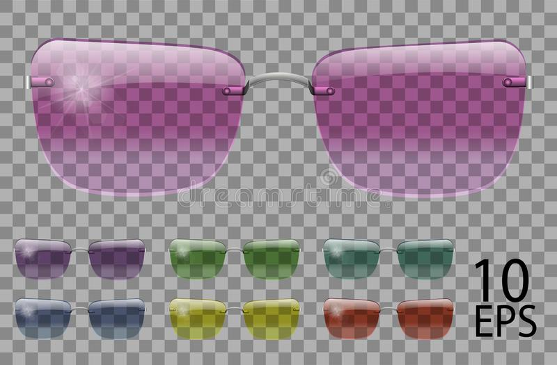 Set glasses.trapezoid shape.transparent different color.sunglasses.3d graphics.pink blue purple yellow  red  green.unisex women. Set glasses.trapezoid shape stock illustration