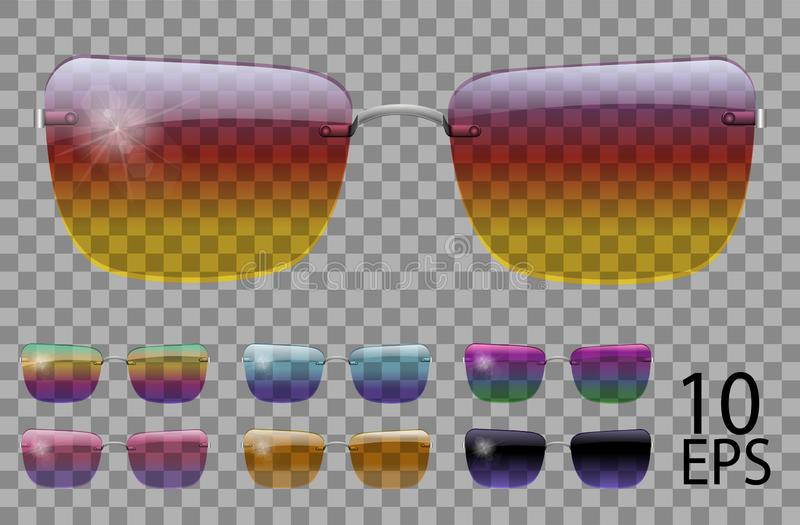 Set glasses.trapezoid shape.transparent different color.sunglasses.3d graphics.rainbow chameleon  pink  blue  purple  yellow  red. Set glasses.trapezoid shape stock illustration