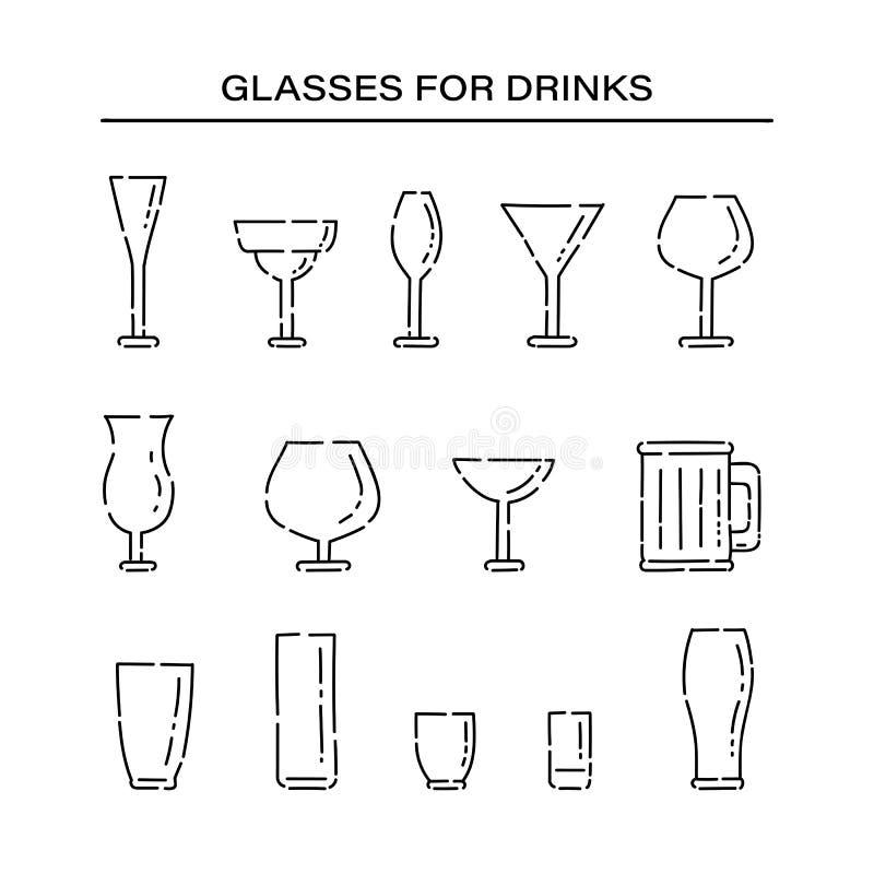 Set glassware for different alcoholic beverages line art vector black white isolated illustration. stock illustration