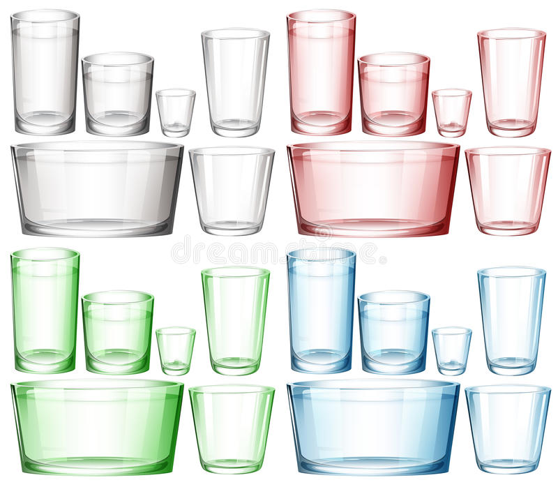 Set of glassware in different colors royalty free illustration