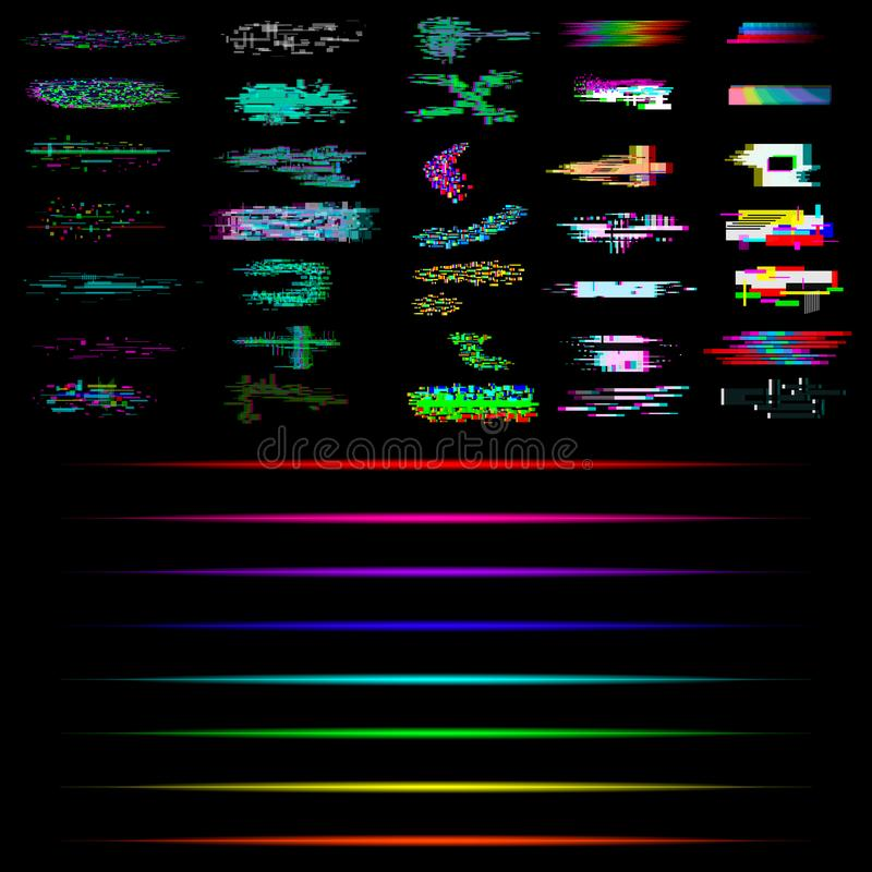 Set of Glitch and neon elements. Collection of glitch and neon effects stock illustration