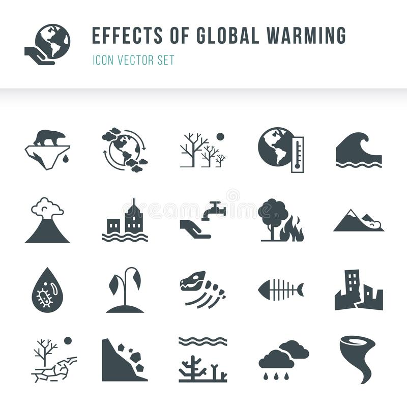 Set of global warming icons. Natural disasters caused by climate change. royalty free illustration
