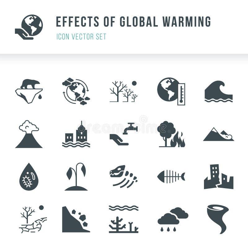Set globalnego nagrzania ikony Katastrofy naturalne powodować zmiana klimatu royalty ilustracja