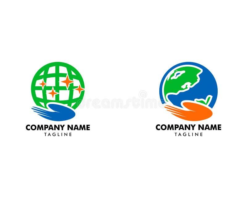 Set of Globe Care Logo Design Element. Globe Care Logo royalty free illustration