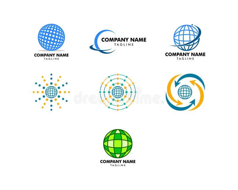 Set of Globe design logo template. Globe design logo royalty free illustration