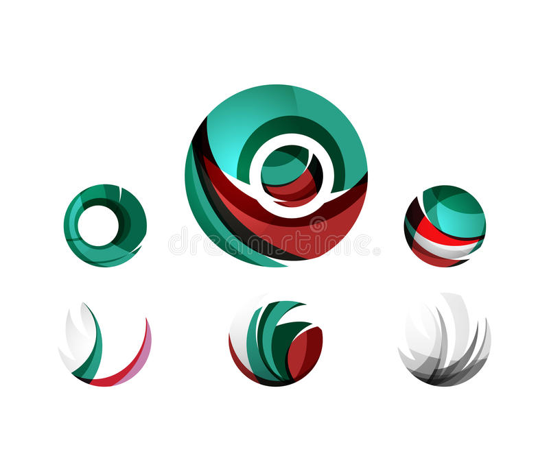 Set of globe sphere or circle logo business icons stock illustration