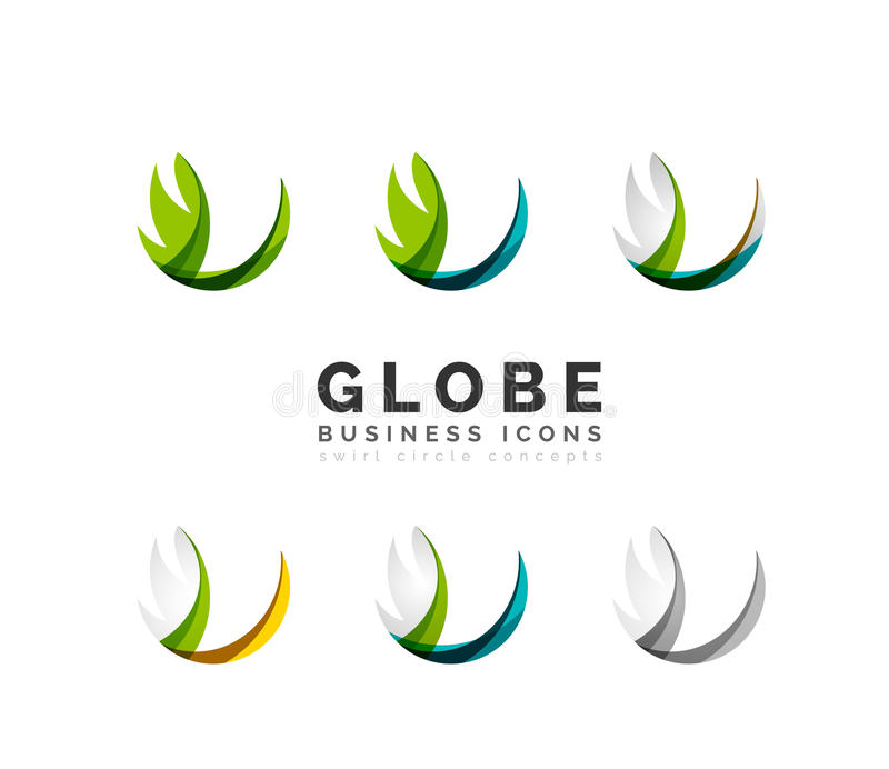 Set of globe sphere or circle logo business icons royalty free illustration