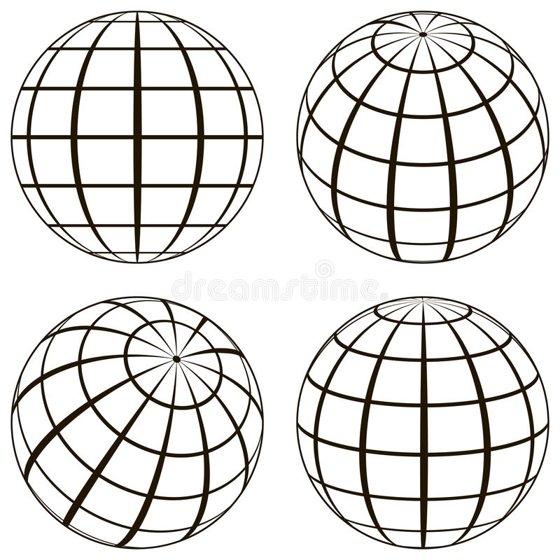 Set globe, the technical picture of the contours of the earth vector illustration