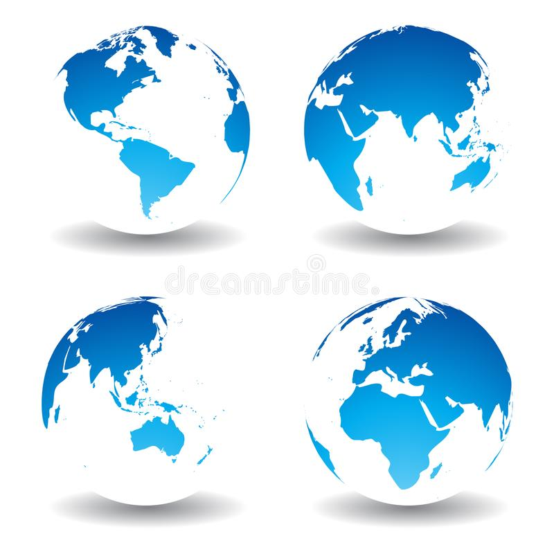 Globe world map set plain blue stock vector illustration of land download globe world map set plain blue stock vector illustration of land planet gumiabroncs Images