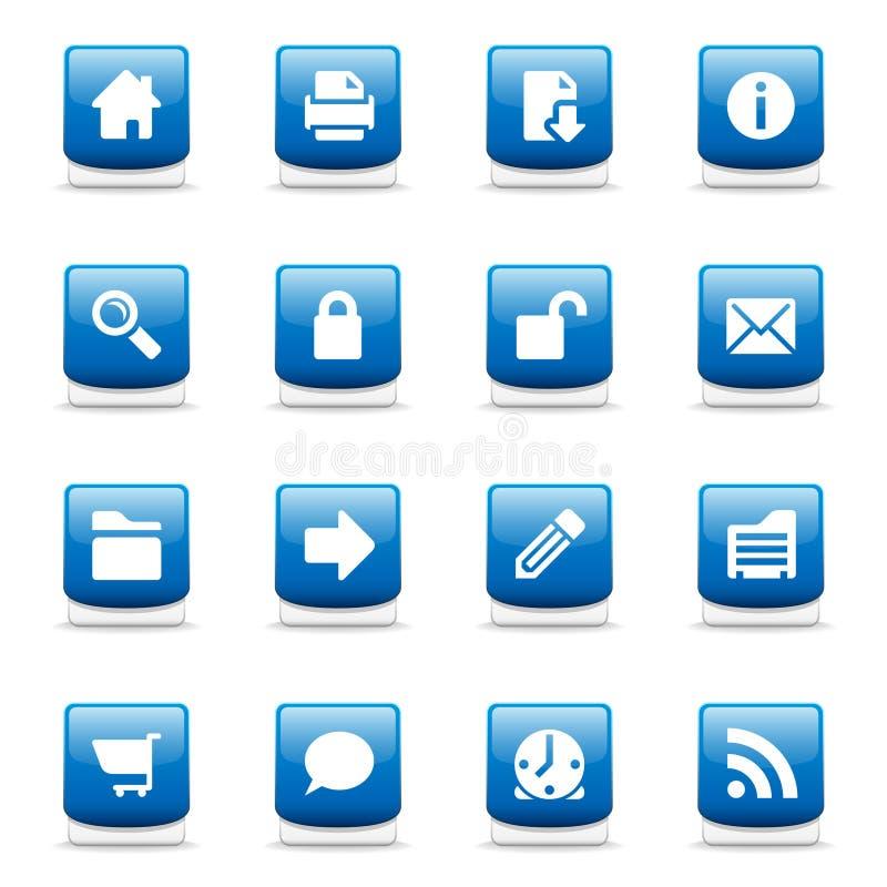 Set of glossy blue web icons royalty free illustration