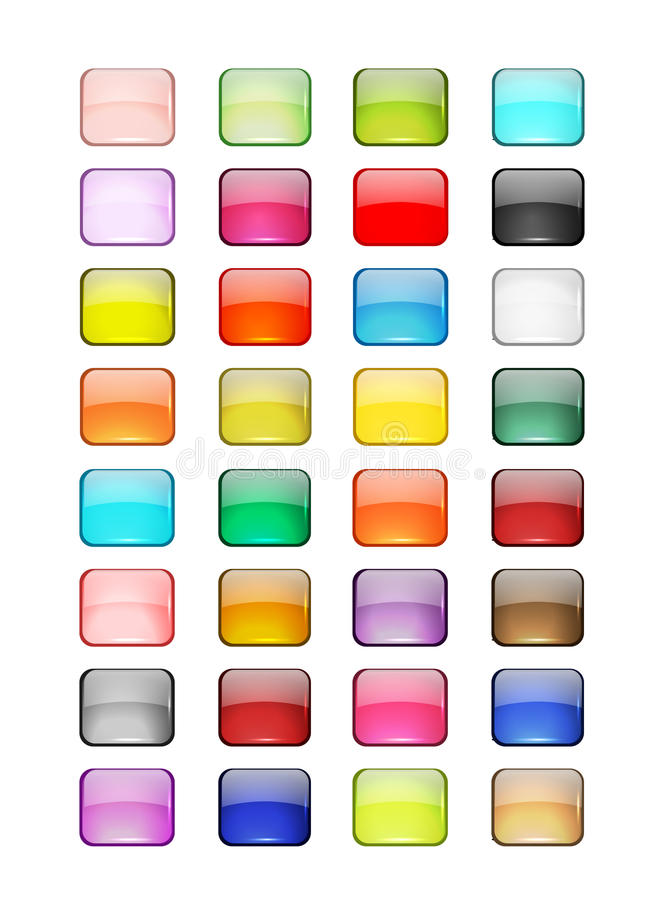 Set of glossy button icons for your design. This is file of EPS10 format vector illustration