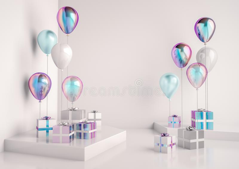 Set of glossy holographic, white and blue foil ballons. stock illustration