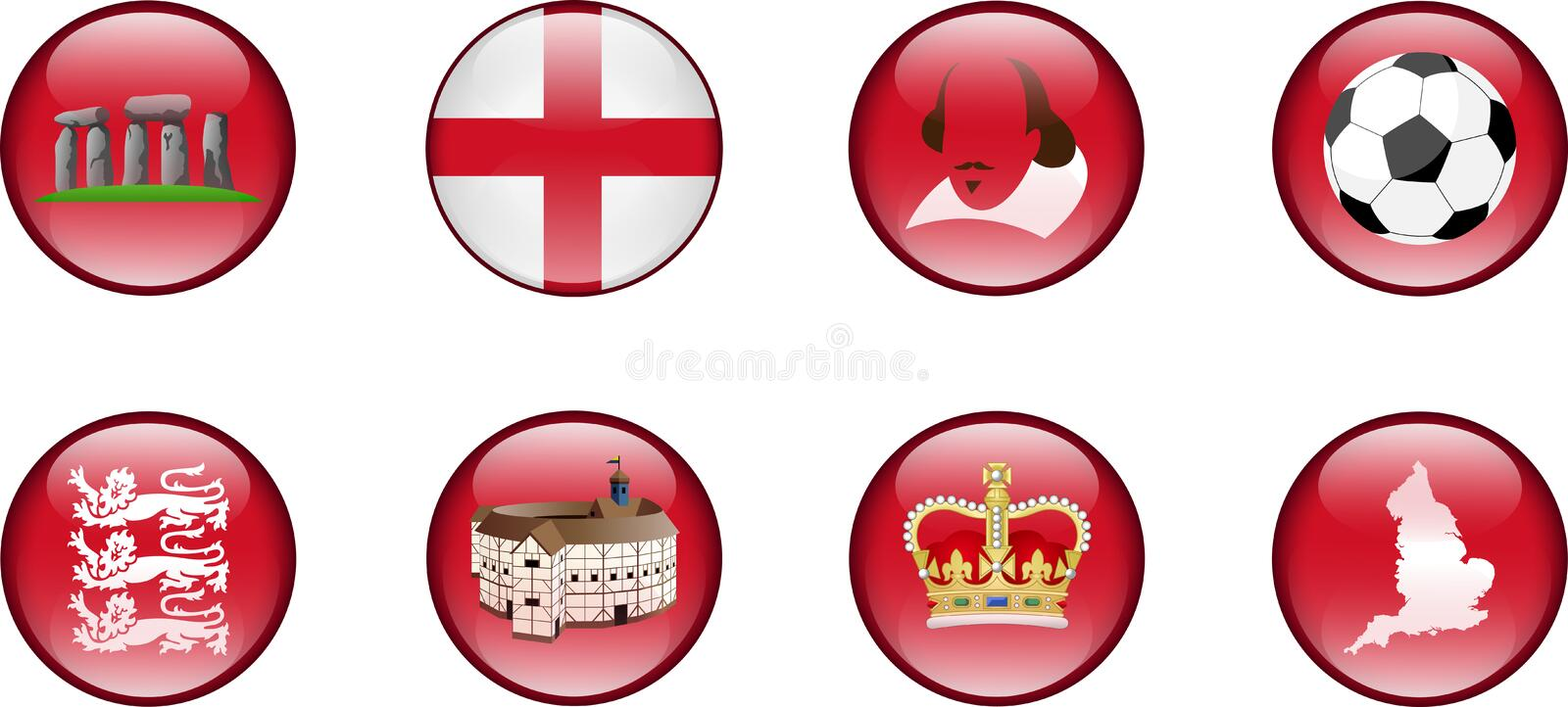 A Set of Glossy Icons of England. vector illustration