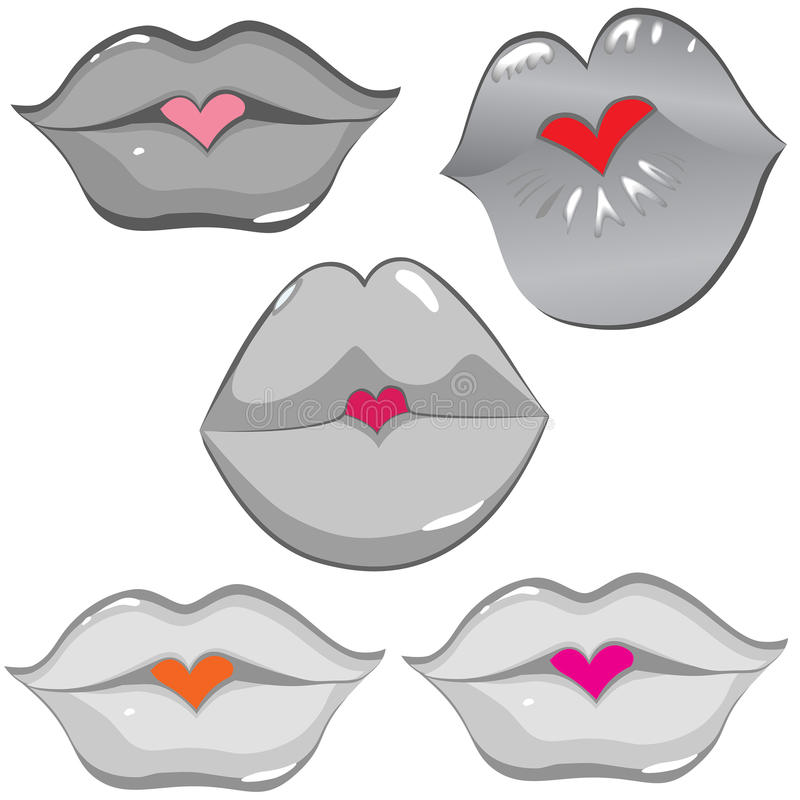 Download Set Of Glossy Lips In Tender Kiss. Stock Vector - Illustration: 24203132