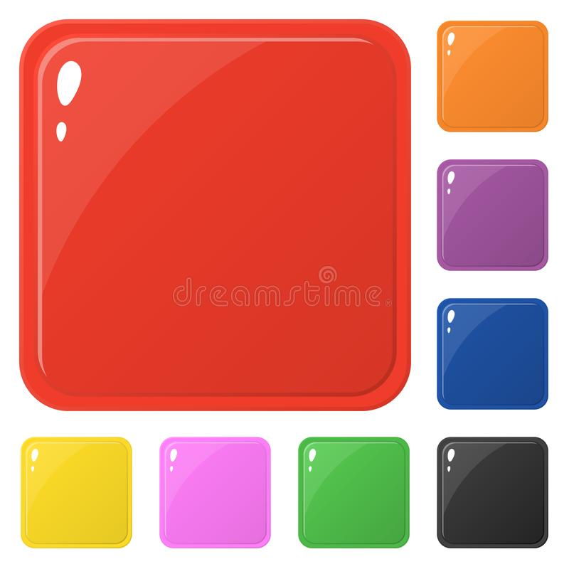Set of glossy square colorful buttons isolated on white. Vector illustration for design, game, web. stock illustration