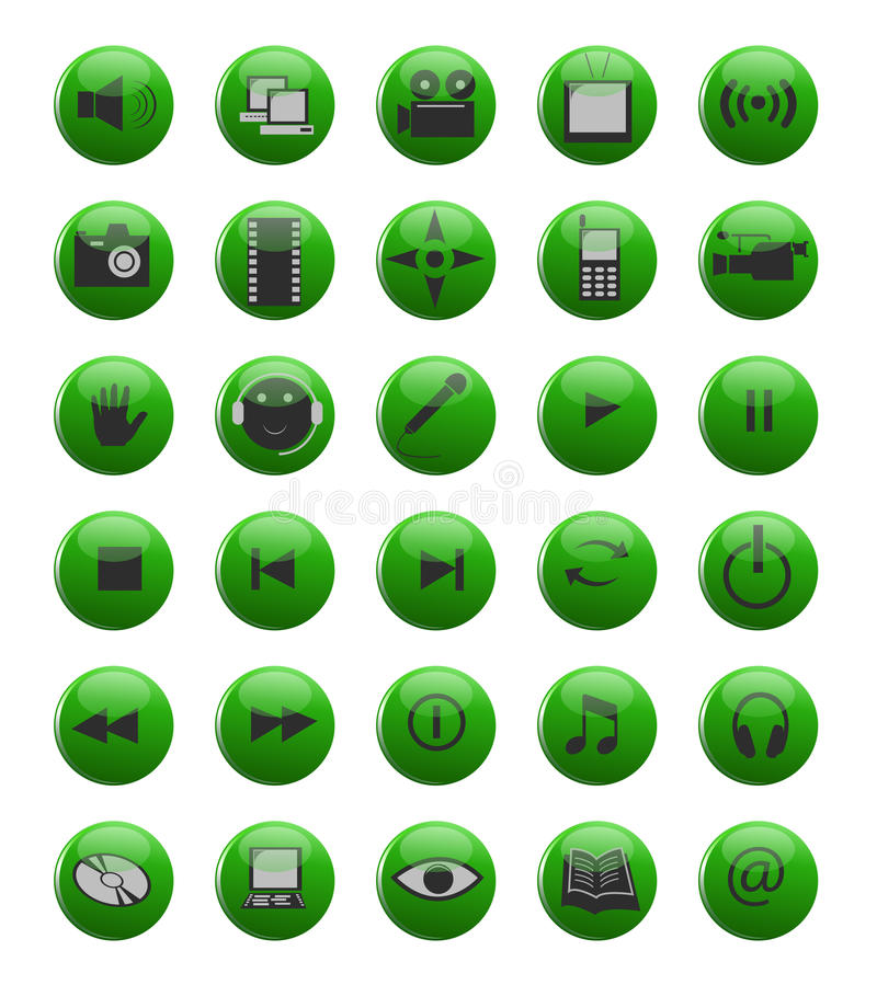 Green web and multimedia icons vector illustration