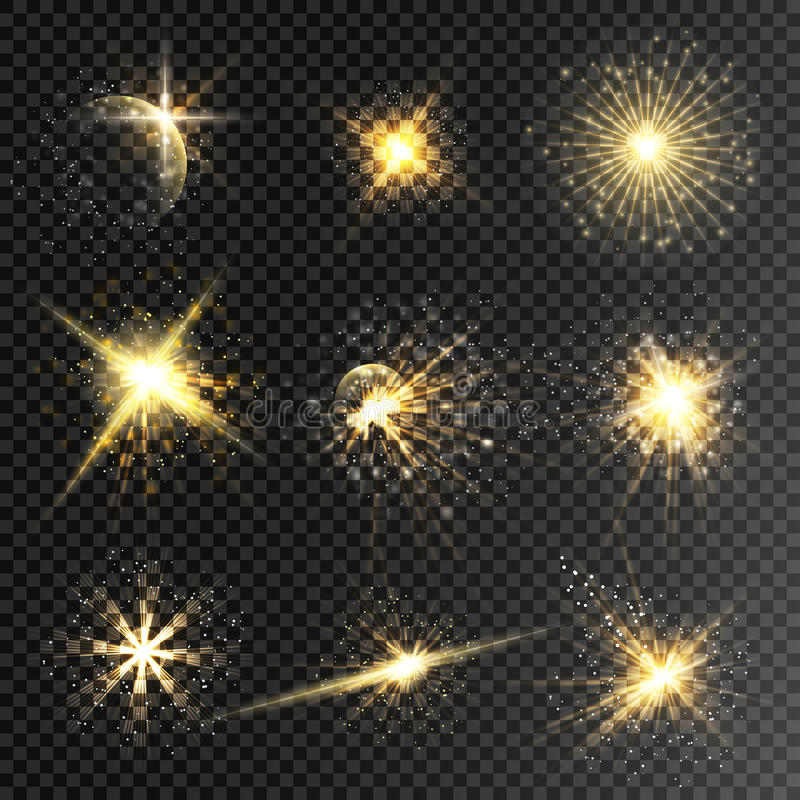 Set of glow stars and light effect bursts with sparkles i. Solated on transparent background. Star dust sparks in explosion for luxury illustration or banner for stock photography