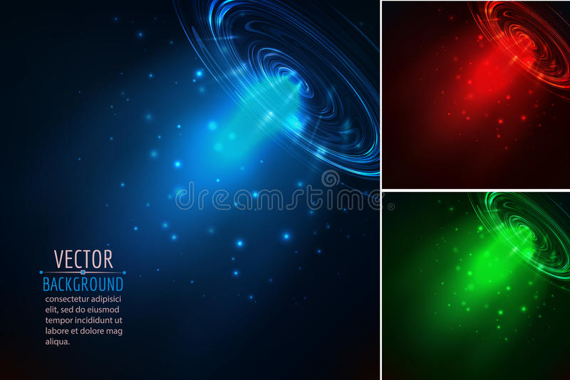 Set of glowing beam. Abstract vector background royalty free illustration