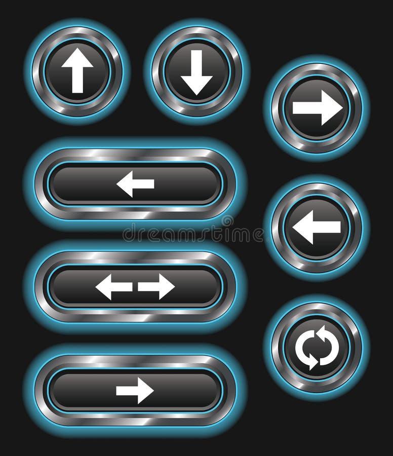 Download Blue Glowing Metallic Arrow Buttons Stock Vector - Illustration of dark, blue: 30258307