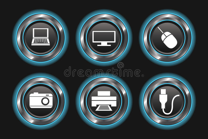 Download Blue Glowing Metallic Device Buttons Stock Images - Image: 30258314