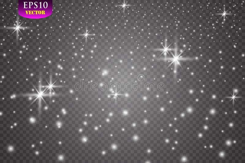Set of glowing lights effects isolated on transparent background. Eps 10 royalty free illustration