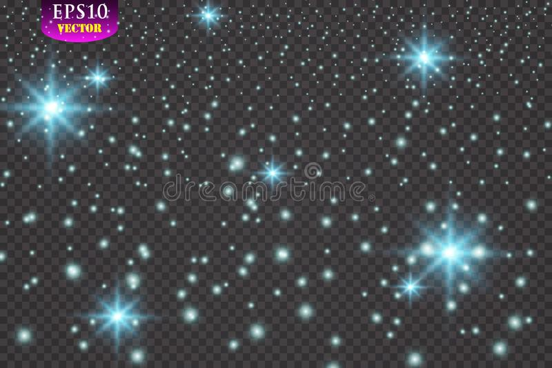 Set of glowing lights effects isolated on transparent background. Eps 10 stock illustration