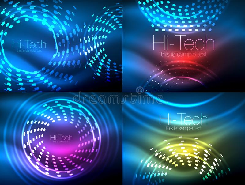 Download Set Of Glowing Neon Techno Shapes Abstract Background Collection Vector Futuristic Magic Space