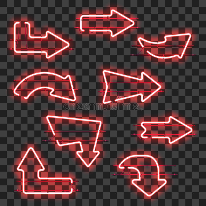 Set of glowing red neon arrows stock illustration
