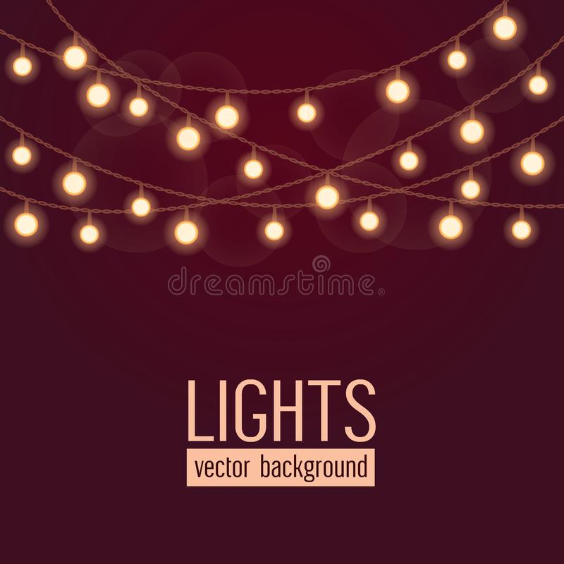 Set of glowing string lights on dark red background. Vector illustration.  stock illustration