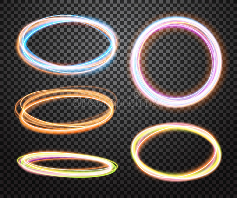 Set of glowing transparent circles. Light effects vector illustration