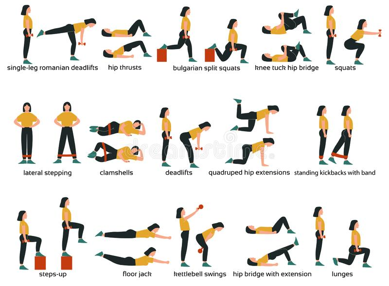 Set of glute exercises and workouts. Flat vector illustration. Glute exercises with titles or names. Woman doing glute  exercises royalty free illustration
