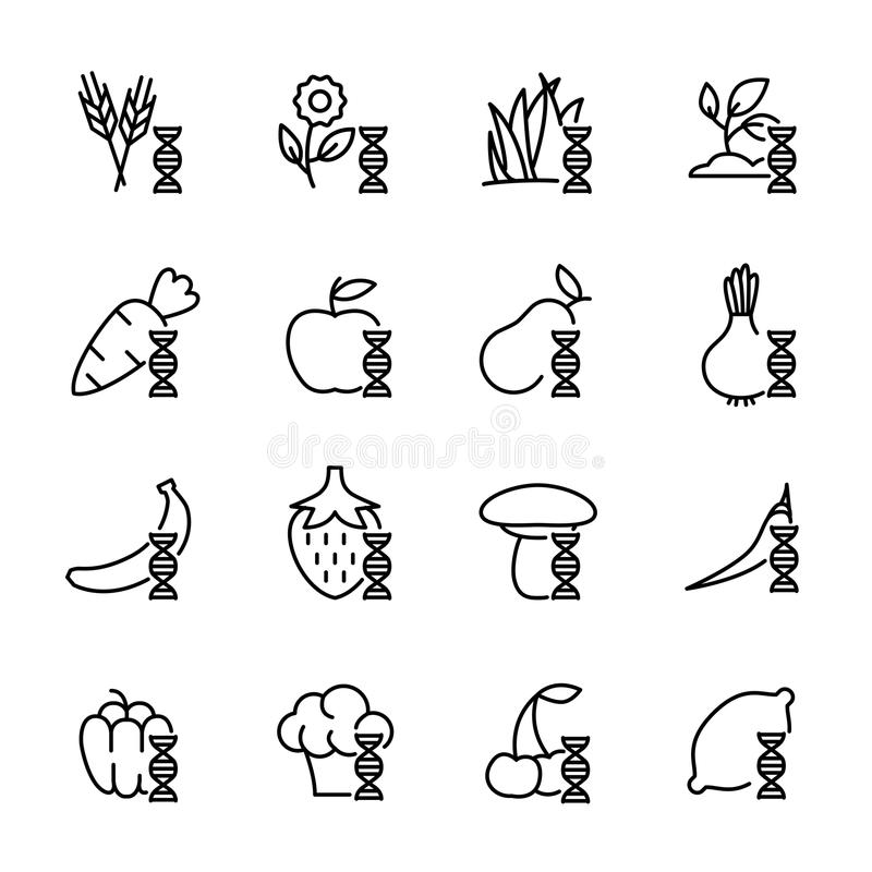 Set of GMO icons in modern thin line style. vector illustration