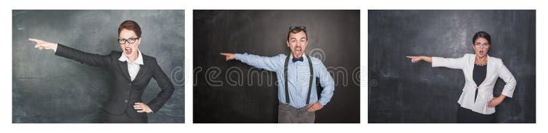 Set gniewni krzyczący ludzie uwydatnia na blackboard zdjęcie royalty free