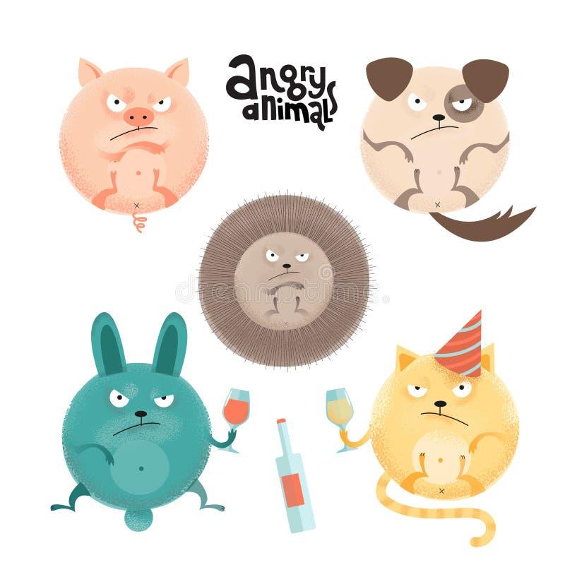 Set gniewni roung anilams, zwierzęta domowe i Płaska kreskówka stylu ilustracja z teksturami świnia, pies, jeż, królik, kot z royalty ilustracja