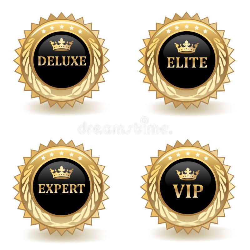 Set Of Gold Badges stock illustration