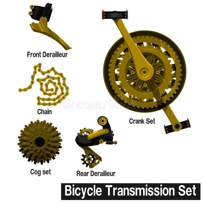 Set of Gold bicycle transmission part. On transparent background stock illustration
