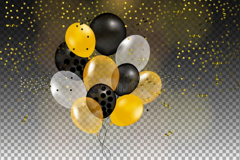 Set of gold, black, yellow, white helium ball isolated in the air royalty free illustration