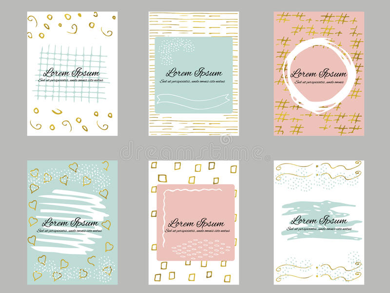 Set of 6 gold, blue, pink and white business card template or gift cards vector illustration