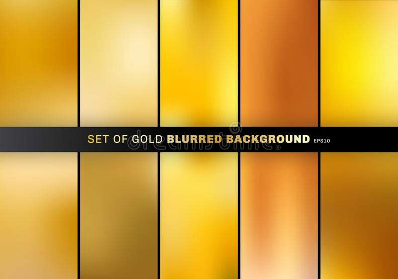 Set of gold blurred background luxury style. collection many beautiful golden color. Elements for your brochure, banner web, poster, flyer, website or royalty free illustration