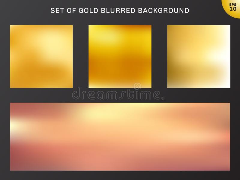 Set of gold blurred background luxury style. collection many beautiful golden color. Elements for your brochure, banner web, poster, flyer, website or vector illustration