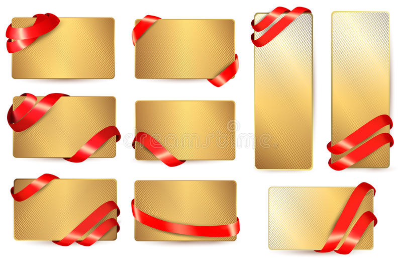 Download Set Of Gold Business Cards With Red Ribbons. Stock Vector - Image: 28880743