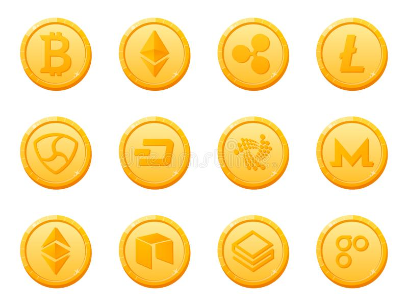 Set of 12 gold coins crypto currency icon. Top digital electronic currency by market capitalization. vector illustration