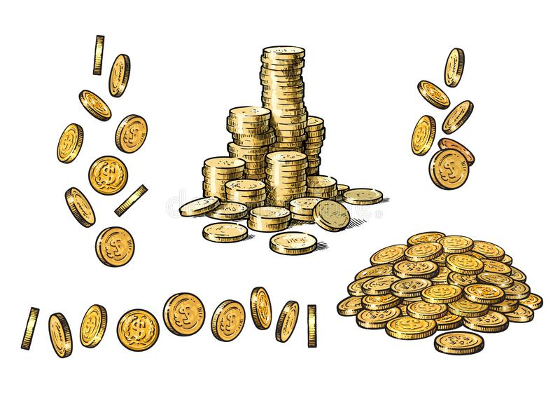 Set of gold coins in different positions in sketch style. Falling dollars, pile of cash, stack of money. Vector. vector illustration