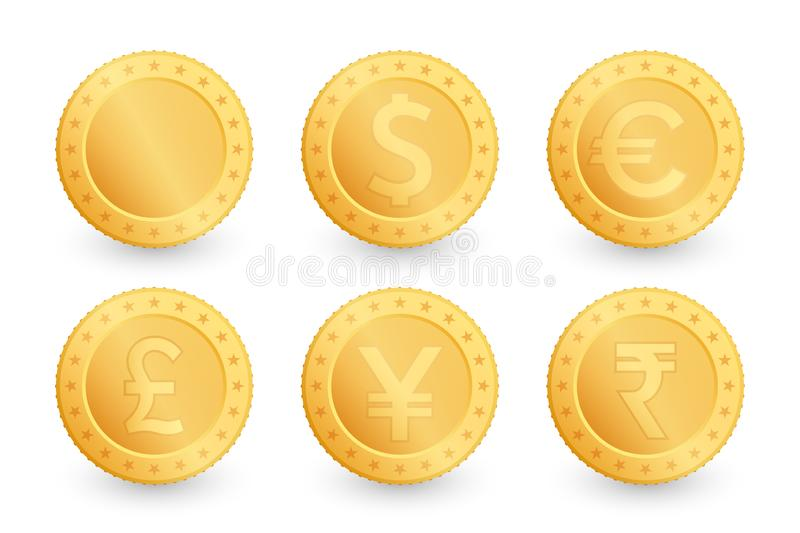 Set of gold coins. Dollar, Euro, Yen, Pound, Rupee sterling. Gold coin isolated on white background. Vector illustration royalty free illustration
