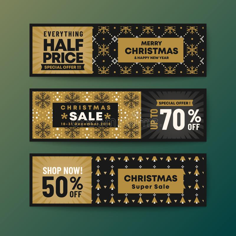 Set of gold color theme christmas web banner royalty free illustration